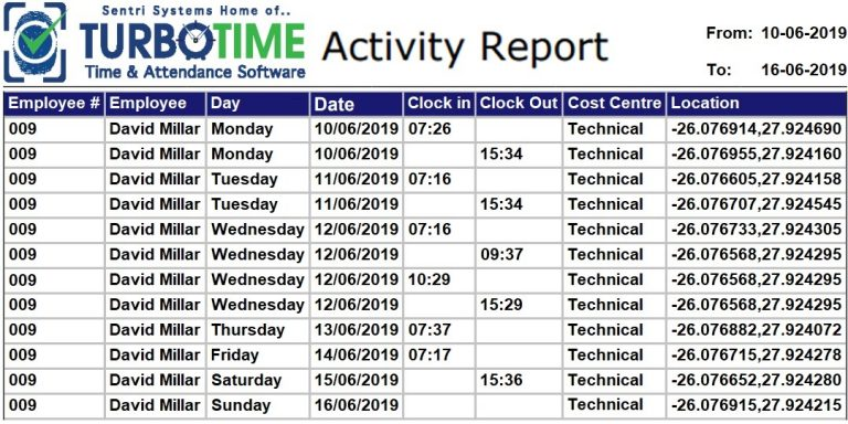 Once your staff begin clocking you can generate your reports, of which there are two for Time & Attendance.